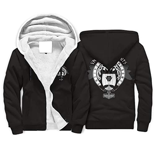 FFanClassic Sudadera con capucha de forro polar Viking para hombre grueso divertido bolsillos chaqueta abrigo blanco s
