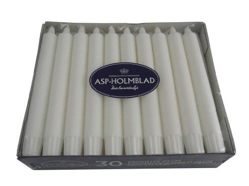 ASP 30 Hochwertige Dänische Stearinkerzen - Stabkerzen, Leuchterkerzen, 200 x 23 mm, Weiß durchgefärbt, Kerzen für Kutschenlampen