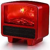 WECDS Chimenea eléctrica portátil, chimeneas eléctricas Lámpara de termostato Independiente Efecto de Registro de Llama LED Protección contra sobrecalentamiento Efecto de Llama 3D LED Realista, Negro