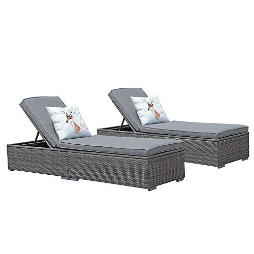 JOIVI Wicker Chaise Lounge Outdoor, Patio Gray Rattan Pool Chairs and lounges, Adjustable Backrest Lounge Chair with Removable Gray Cushion (Set of 2)