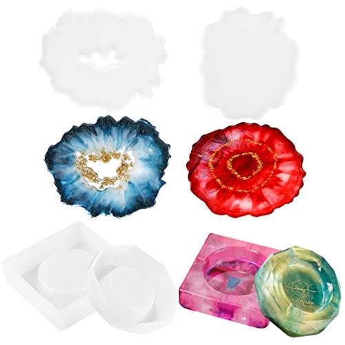 4pcs Stampi per Resina fai da te in silicone,FunPa Stampi per Sottobicchieri Irregolari e Posacenere Tondo Quadrato In Resina