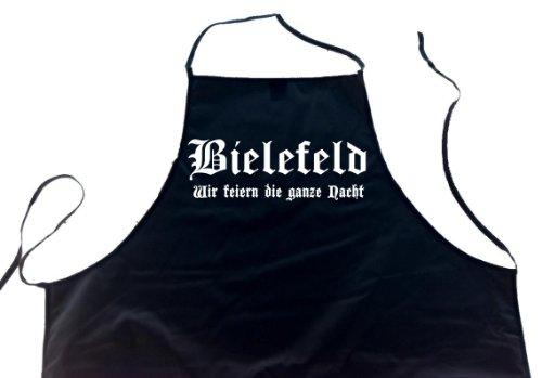 ShirtShop-Saar Bielefeld - Wir feiern die ganze Nacht; Schürze (Latzschürze - Städte, Grillen, Kochen, Berufsbekleidung, Kochschürze), schwarz