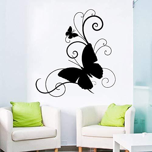 GJQFJBS Vinyl aufkleber schmetterling haus innen wohnzimmer wandtattoo mädchen schlafzimmer schönheit dekorative wand A2 57X62 CM
