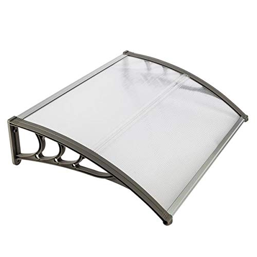 Door Awning Canopy HT-100 x 80 Household Application Door & Window Rain Cover Eaves Canopy 5.0mm Polycarbonate Hollow Sheet & ABS Brackets & Aluminum Fixing Bars, White & Gray