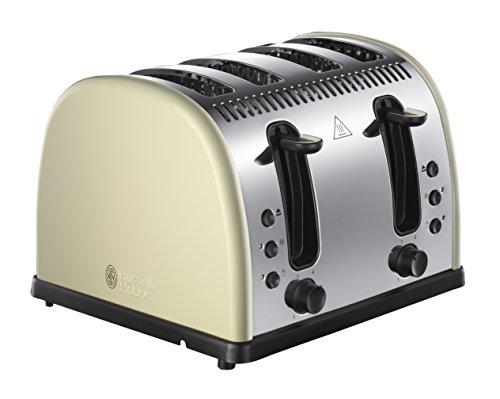 Russell Hobbs 21302 Legacy 4-Slice Toaster, Stainless Steel, 2400 W, Cream