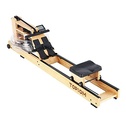 TOPIOM Rowing Machine,Home Wooden Water Resistance Rowing Machine for Home...