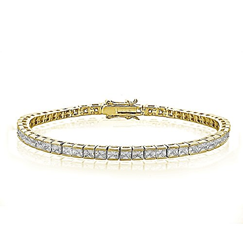 GemStar USA Cubic Zirconia Princess-Cut Channel Set Fashion Tennis Bracelet in Yellow Gold Tone