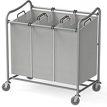 Simple Houseware Heavy-Duty 3-Bag Laundry Sorter Cart Silver