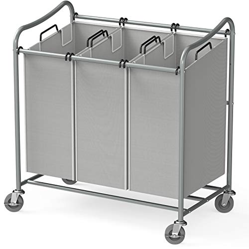 Simple Houseware Heavy-Duty 3-Bag Laundry Sorter Cart, Silver