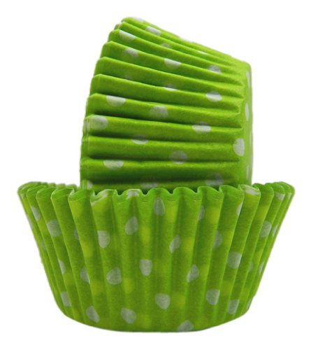 Regency Wraps Greaseproof Baking Cups, Lime Green and White Polka Dots, 40-Count, Standard.