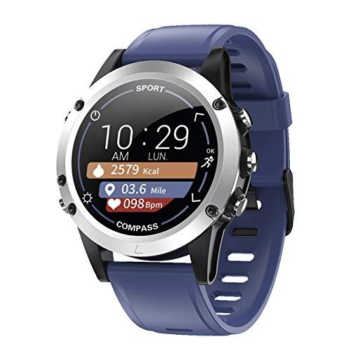 Monitor de actividad con frecuencia cardíaca, pulso, presión arterial, brújula, sueño, pasos, pantalla a color, reloj inteligente azul - 9714/5 ✅