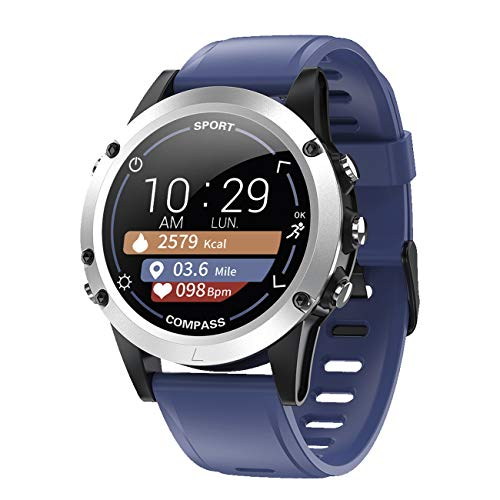 Monitor de actividad con frecuencia cardíaca, pulso, presión arterial, brújula, sueño, pasos, pantalla a color, reloj inteligente azul - 9714/5