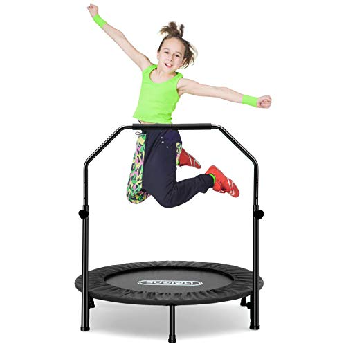 """beiens 40"""" Foldable Mini Rebounder with Adjustable Foam Handle and Safety Pad, Indoor Outdoor Exercise Mat for Adults Body Fitness Training Workouts, Max Load 250lbs (Black)"""