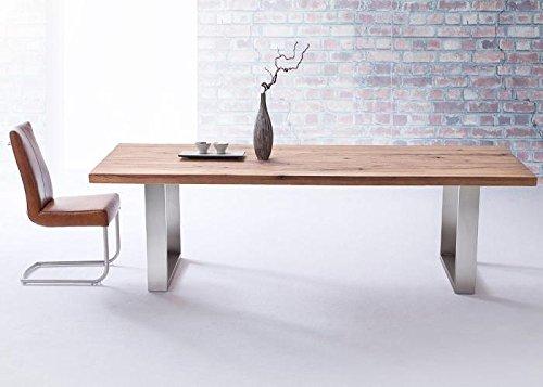 Robas Lund, Tisch, Esszimmertisch, Castello, Eiche/Massivholz/Bassano/Edelstahl gebürstet, 180 x 100 x 76 cm, CAS180EB