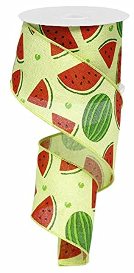 Watermelon Slices Wired Edge Ribbon, 10 Yards (Green, Red, 2.5