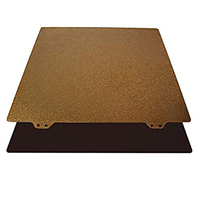 Toaiot 3D Printer 235x235mm/9.2x9.2 inch Gold Double Sided Textured PEI Powder Coated Spring Steel Build Plate Steel Sheet for Ender 3/ Ender 3 Pro/Ender 3X with Magnetic Platform Side B