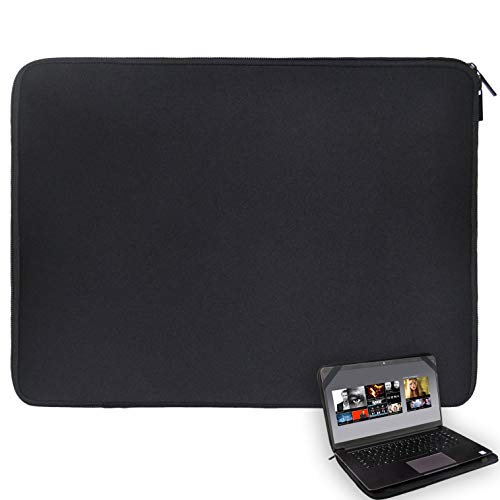 17 17.3 17.4 inch Laptop Sleeve Black Water-Resistant Neoprene Notebook Computer Briefcase Carrying Bag/Pouch Cover with 4 Elastic Bands for Acer/Asus/Dell/Lenovo/HP/Toshiba/MSI