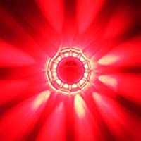 電池式LED警告灯・直径100mm・10個セット・赤発光・9パターン発光(マグネット・白LED3個付)