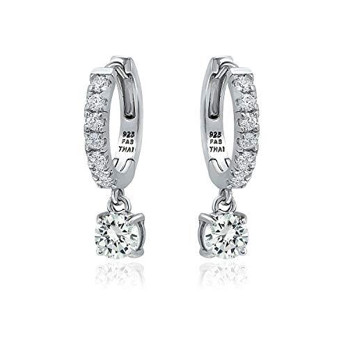 Sterling Silver 5mm White CZ Cubic Zirconia Round Dangle Huggie Hoop Earrings for Women Teen Girls, 15mm Diameter