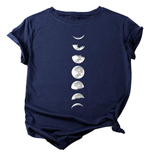 Yosemite Verano De Las Señoras Casual O Cuello De Manga Corta Impresión De Luna Casual Suelta Blusa Camiseta Top Azul Oscuro XL
