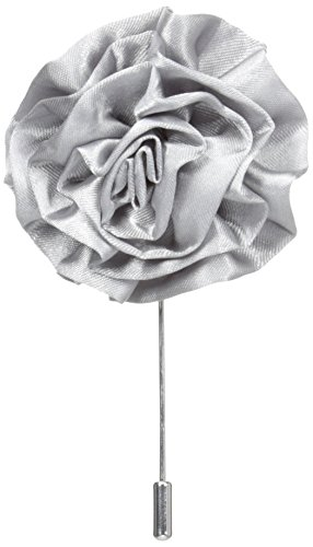 Stacy Adams Men's Flower Lapel Pin, Gray, One Size