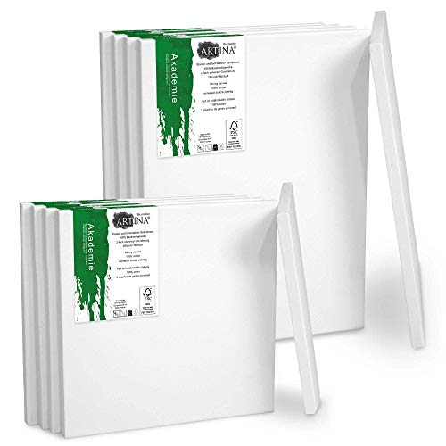 Artina Akademie Keilrahmen FSC®-Zertifiziert 10er Set 5 x 30x40 cm & 5 x 20x20 cm- Aus 100% Baumwolle Leinwand Keilrahmen weiß - 280g/m² - verzugsfrei