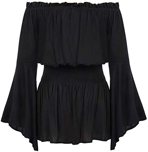 Women Plus Size Gothic Blouse Off Shoulder Trumpet Sleeve Peasant Tops Black 16W product image