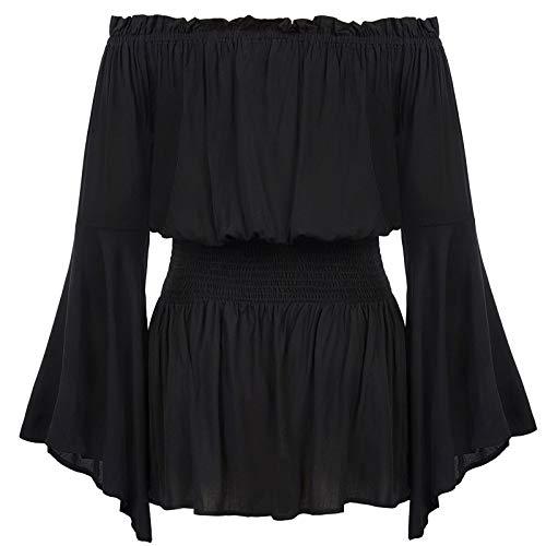 Hanna Nikole Women Plus Size Off Shoulder Peasant Blouse Medieval Victorian Costume Black 22W