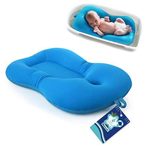 Moonvvin - Materassino galleggiante per il bagno del neonato, materassino morbido con cuscino Blue