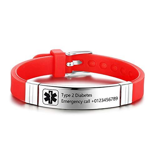 Personalisierte Medic Alert Armband für Frauen,Silikonband Notfall Medical Alert Herren Armbänder Offizielle ID,Armband mit Medical Alert Badge,Maßgeschneiderte Gravur Text Gesundheitsinformationen