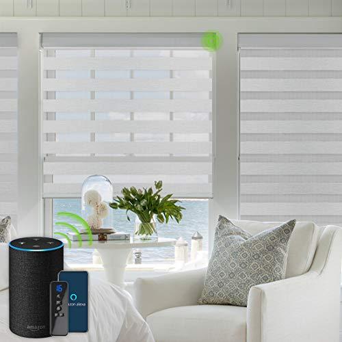 Yoolax Elektrische Doppelrollos mit Alexa kompatibel Sprachsteuerung mit Motor Fernbedienung Nach Maß Zebra Duo Rolladen(Grau) B:81-100,H:100-150