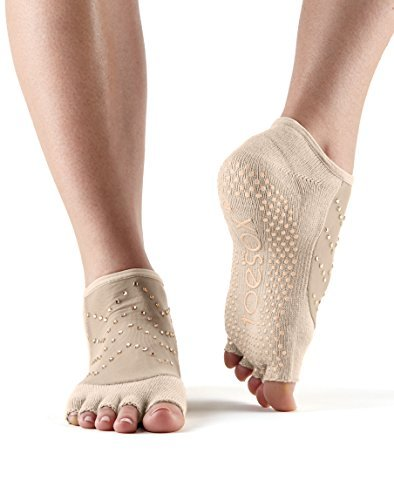 Fitness Mad Calcetines unisex Toesox para yoga y pilates, Unisex, calcetines con agarre para Yoga y Pilates, YTOENTLUNANUDE-M, color carne, Medium