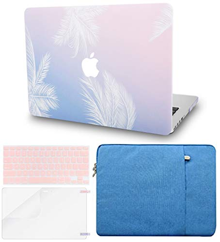 """KECC Laptop Case Compatible with MacBook Pro 13"""" (2020/2019/2018/2017/2016, Touch Bar) w/Keyboard Cover + Sleeve + Screen Protector Hard Shell A2159/A1989/A1706/A1708 (Blue Feather)"""
