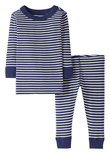 Moon and Back by Hanna Andersson Pyjama 2 pièces à rayures, à manches longues, en coton bio pour tout-petits, bébés, Bleu marine à rayures, 2 ans (82-87 CM)