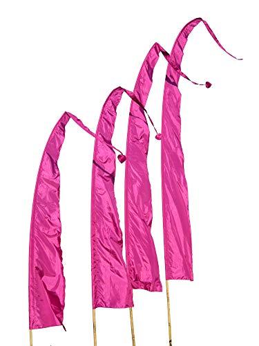 DEKOVALENZ Balifahnen-Stoff SANUR |mit herzförmiger Spitze | Umbul Asien-Fahnen | Fahnenlänge: 5 Meter | Farbe: Purpur