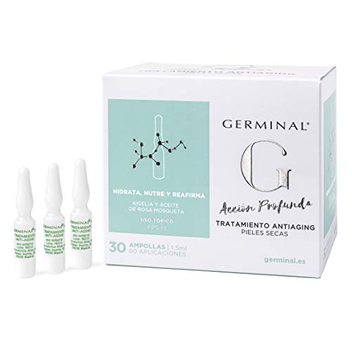 Germinal Acción Profunda - Sérum facial Antiaging para pieles secas, con Aceite de Rosa Mosqueta, Vitamina E y extractos de Kigelia - 30 ampollas de 1,5ml