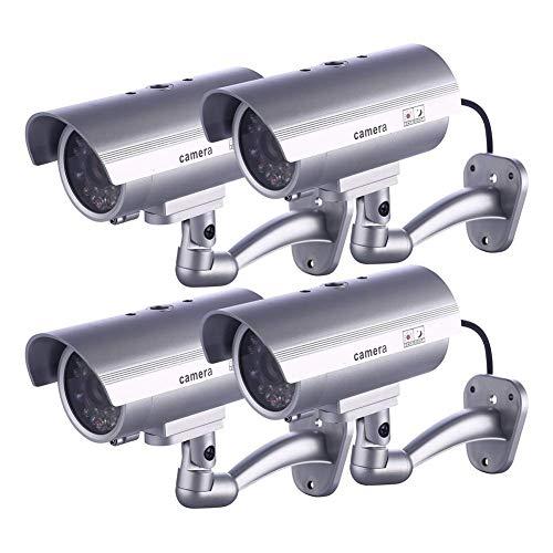 SILOLA Fausse caméra de sécurité, caméras factices, système de Surveillance CCTV avec LED simulées réalistes, Utilisation intérieure en extérieur pour Les Maisons et Les Entreprises