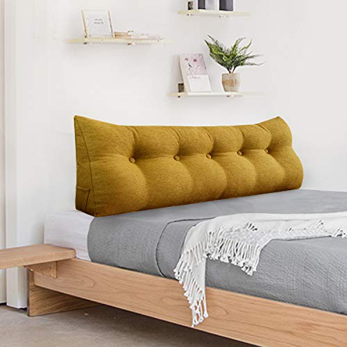 VERCART Supportive Upholstered Yellow Headboard with Buttons in Linen Fabric Padded Sidebar Available In 5ft King Bed 26' Tall