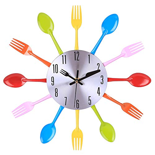 N /A Relojes de Pared Vajilla Creativa de 32 cm Silencioso Colorido para la decoración del hogar Una selección de Metales, duraderos y duraderos, no se dañan fácilmente