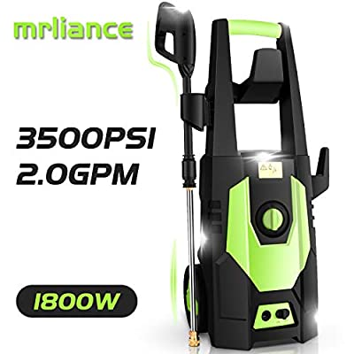 mrliance 3500PSI Electric Pressure Washer, 2.0GPM Electric Power Washer High Pressure Washer with Spray Gun, Brush, and 4 Quick-Connect Spray Tips