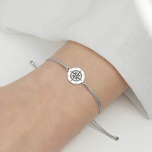 SCHOSCHON Damen Armband Kompass 925 Silber // Tochter Schmuck Freundschaftsarmband Windrose Himmelsrichtungen Geschenk Konfirmation