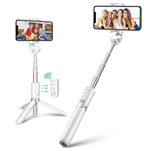 BlitzWolf Bluetooth Selfie Stick Stativ, 3 in 1 Erweiterbar Monopod Wireless Selfie-Stange Stab 360° Rotation mit Bluetooth-Fernauslöse für Android Samsung Galaxy 3.5-6 Zoll Smartphones(Weiß)