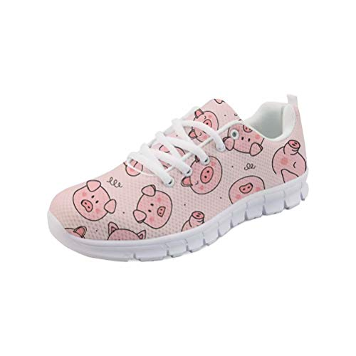 FOR U DESIGNS Womens Running Shoes Lightweight Sneakers Pink Athletic Tennis Sport Shoes Cute Pig Printed Shoes Size 8