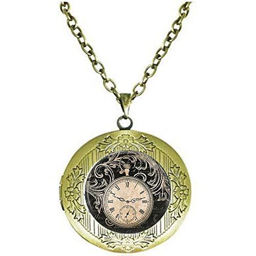 bab Vintage Uhr Halskette rund Uhr Taschenuhr Anhänger Kunst Foto Anhänger Glas Kuppel Uhr Anhänger Schmuck Medaillon Halskette Schmuck