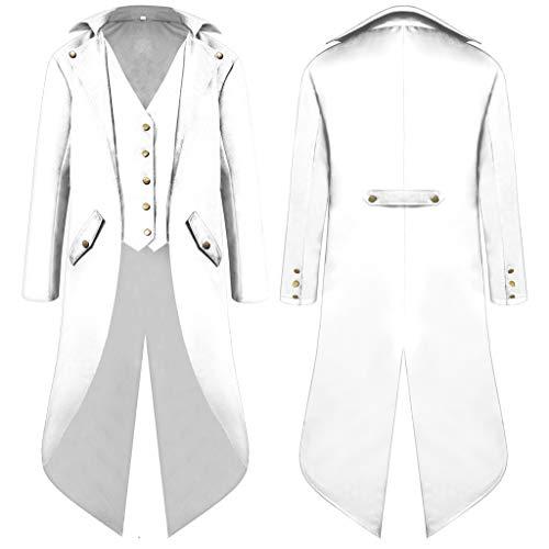ZHANSANFM Herren Smoking Jacke Steampunk Gothic Jacke Uniform Mittelalter Kleidung Weste Coat Waistcoat Mode Einfarbig Vintage Viktorianischen Langer festlich Cosplay Party Kostüm (4XL, Weiß)