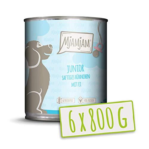 MjAMjAM - Premium Nassfutter für Hunde - Junior saftiges Hühnchen mit Ei - getreidefrei mit extra viel Fleisch, 6er Pack (6 x 800 g)