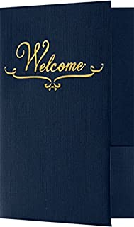 Welcome Folders - Gold Foil Stamped Design - Dark Blue Linen (25 Qty) | Perfect for Hotel Welcome Baskets, Wedding Programs, Simars, Brochures and so Much More! | Two Pockets | WEL-DDBLU100-GF-25
