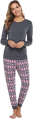 QIN.J.FANG-MY Conjunto de Pijama de algodón para Mujer, Ropa de Dormir, Parte Superior e Inferior de Manga Larga, Ropa de Dormir, Conjunto de Pijama de algodón, Ropa de Dormir para Mujer