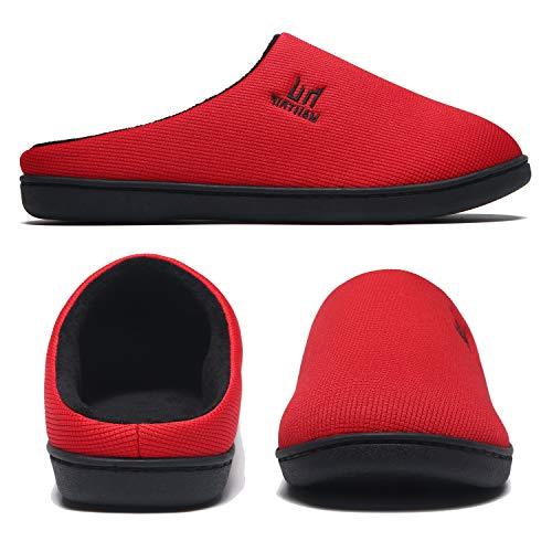 Zapatillas de desgaste para hombre Casa de espuma viscoelástica Interior Exterior Invierno Cálido Resbalón en los zapatos de dormitorio Inicio Goma antideslizante Suela suave Rojo Tamaño 48 49
