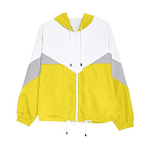 VEMOW Damen Herbst Winter damen Langarm Patchwork Dünne Skins Suits mit Kapuze Reißverschluss Taschen Casual Täglichen Freien Sport Mantel(Z4-Gelb, EU-38/CN-S)